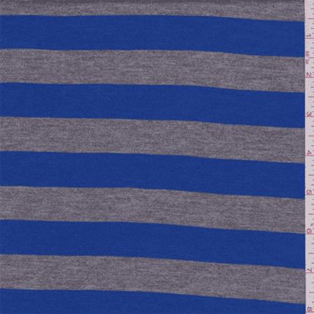 Cobalt/Grey Stripe Rayon Jersey Knit, Fabric By the Yard