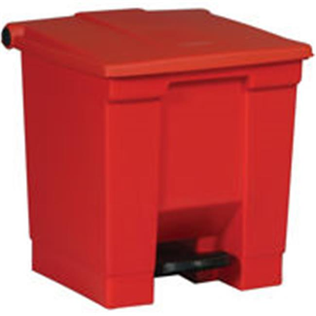 Rubbermaid Commercial Products 6143RED 8 gal.  Indoor Utility Step-On Waste Container - Square, Red