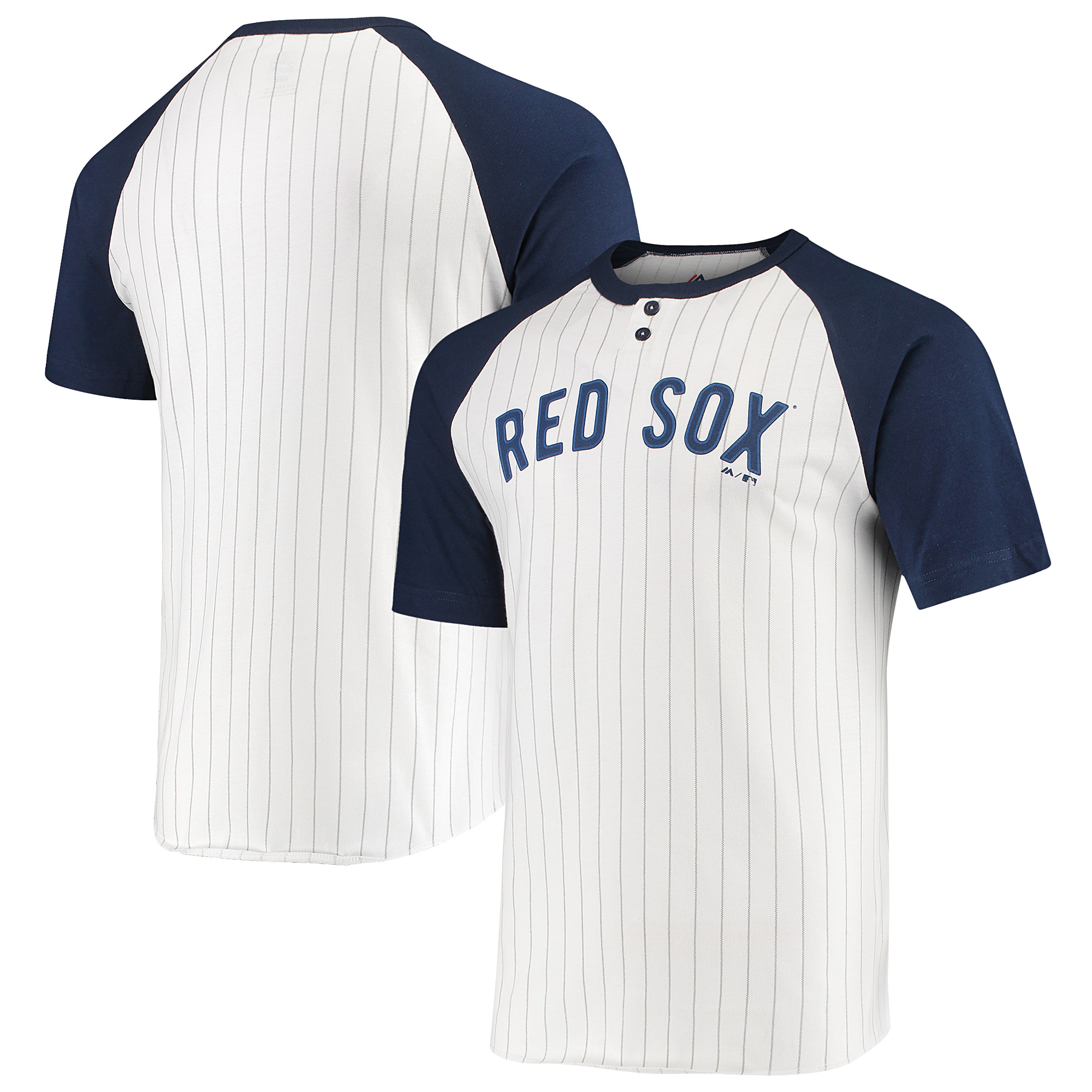 Boston Red Sox Majestic Everything in Order Domestic Pinstripe T-Shirt - White