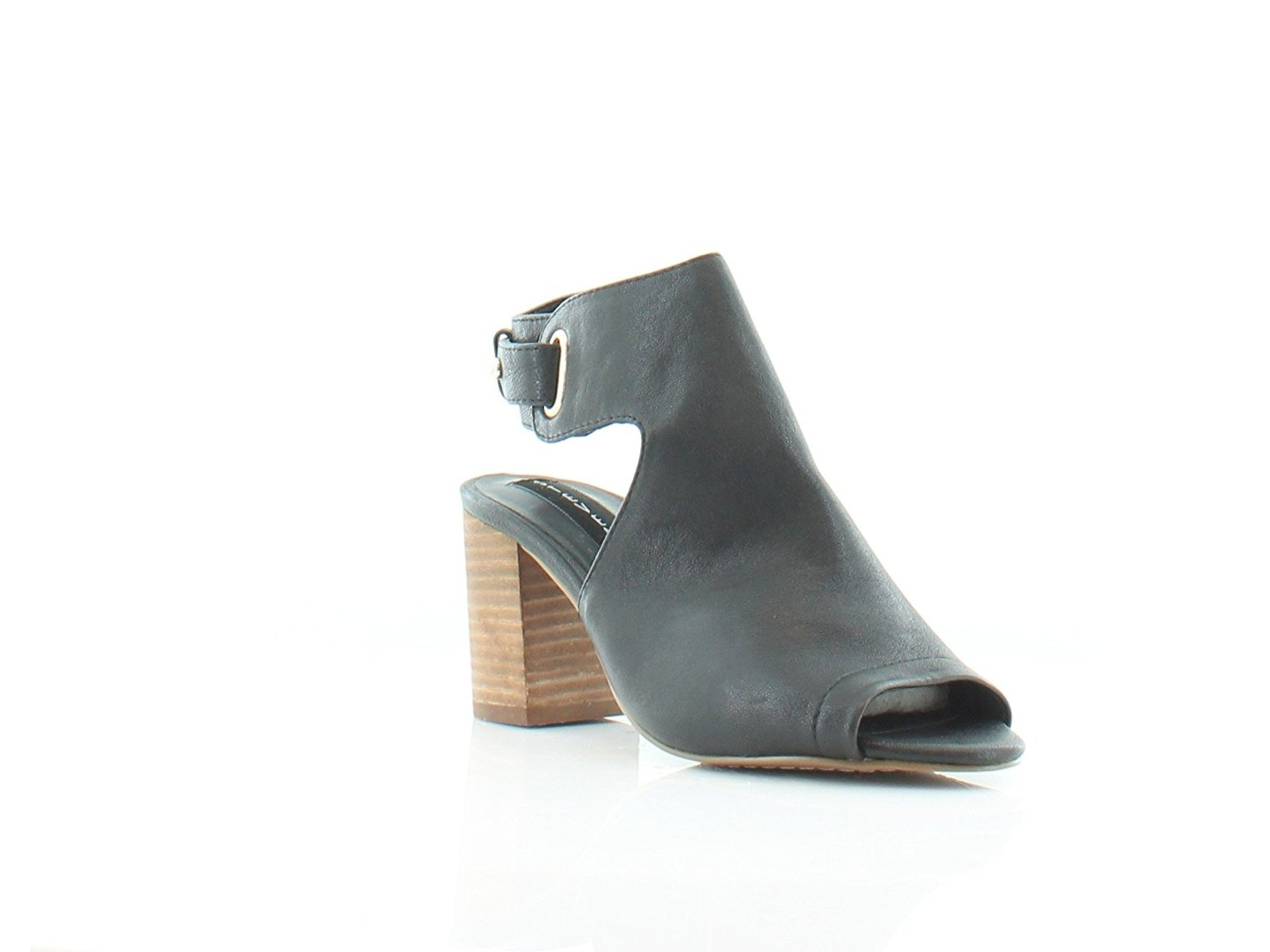 b61a6fe574f STEVEN by Steve Madden Womens Venuz Leather Open Toe, Black Leather, Size  7.0