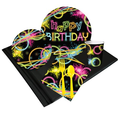 Glow Birthday Party Deluxe Tableware Kit (Serves 8) - Party - Glow Party Supplies