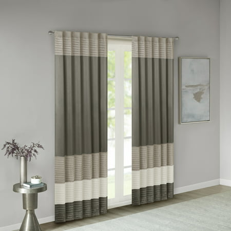 "84""x50"" Salem Polyoni Pintuck Light Filtering Window Curtain Panel Natural"