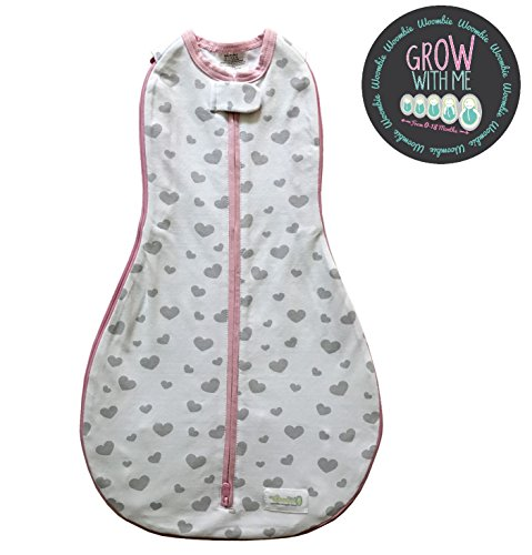Woombie Grow With Me Baby Swaddle - Convertible Swaddle Fits Babies 0-9 Months - Expands to Wearable Blanket for Babies Up to 18 Months (Gray Hearts)