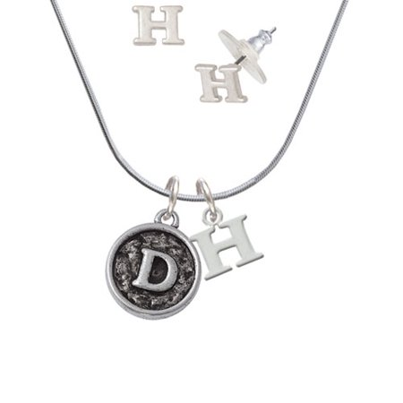 Delight Jewelry - Antiqued Round Seal - Initial - D - - H Initial Charm Necklace and Stud Earrings Jewelry Set - Walmart.com