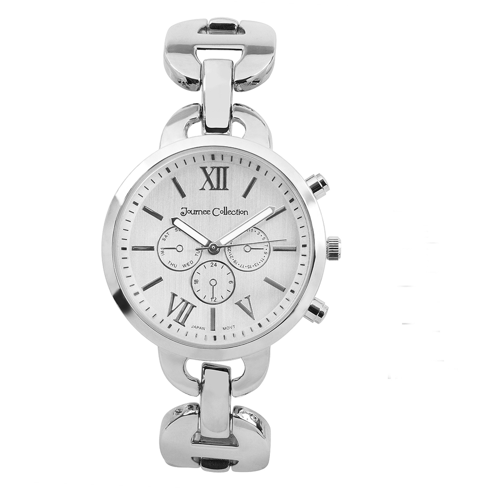 Journee Collection Women's Link Round Face Fashion Watch