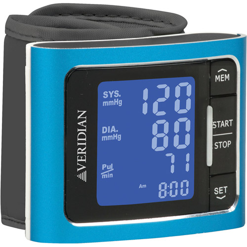 Brushed Aluminum Deluxe Wrist Digital Blood Pressure Monitor, Blue