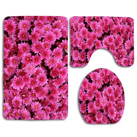 EREHome Magenta Mums 3 Piece Bathroom Rugs Set Bath Rug Contour Mat and Toilet Lid Cover - image 1 of 2
