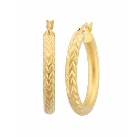 18kt Gold Over Sterling Silver Diamond Cut Hoop Earrings