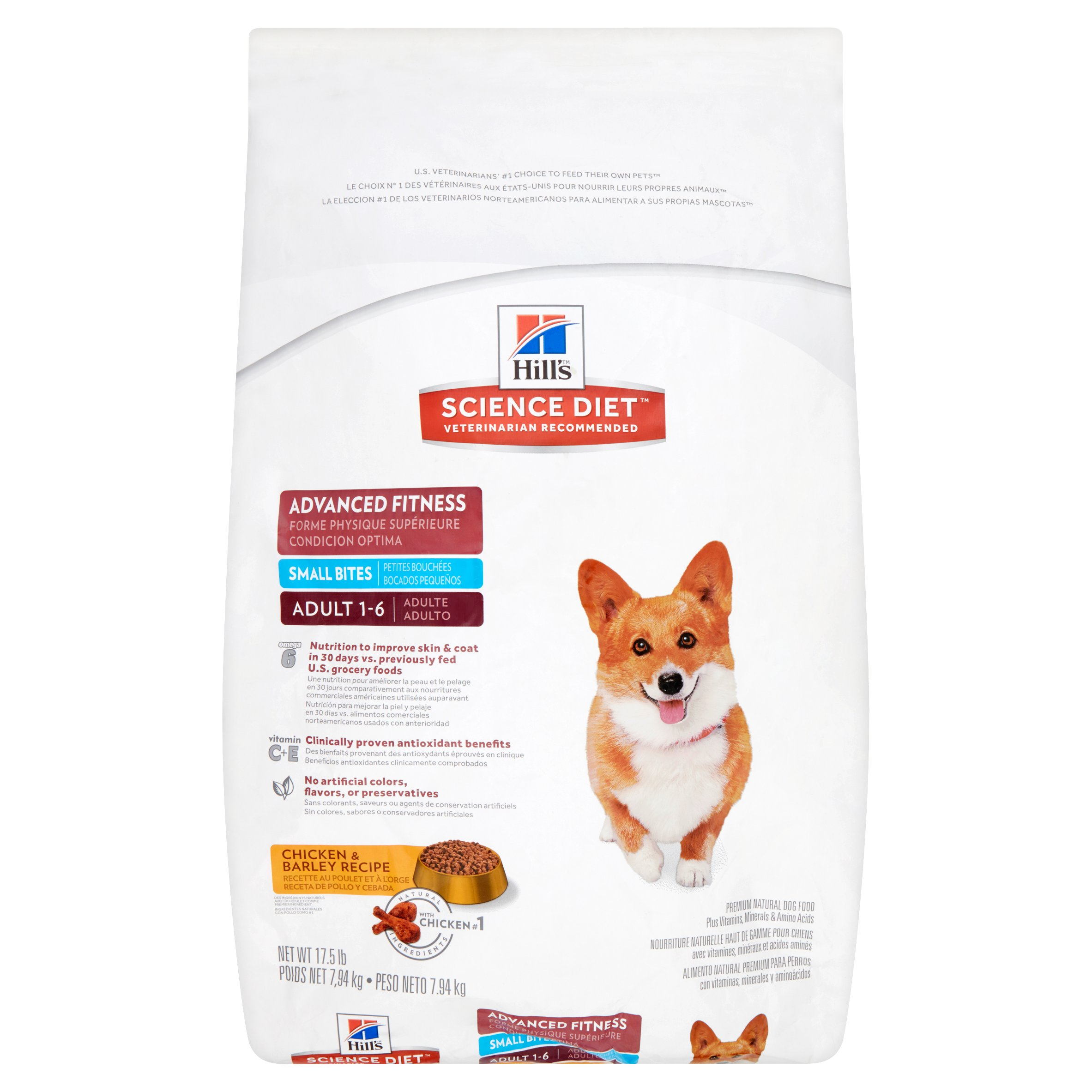 Hill's Science Diet Adult Advanced Fitness Small Bites Chicken & Barley Recipe Dry Dog Food, 17.5 lb bag by Hill's Pet Nutrition, Inc.