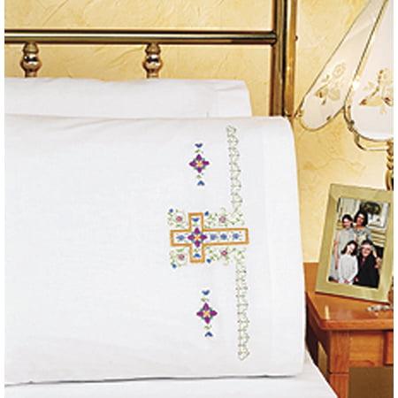 "Janlynn Religious Cross Pillowcase Pair Stamped Cross Stitch, 20"" x 30"""