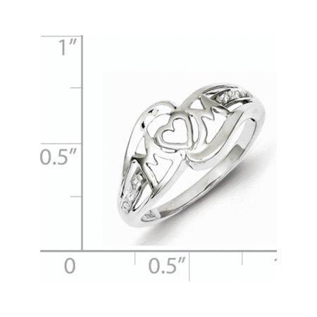 0a24cf256717b Sterling Silver Rhodium Plated Diamond Heart Mom Ring | Walmart Canada