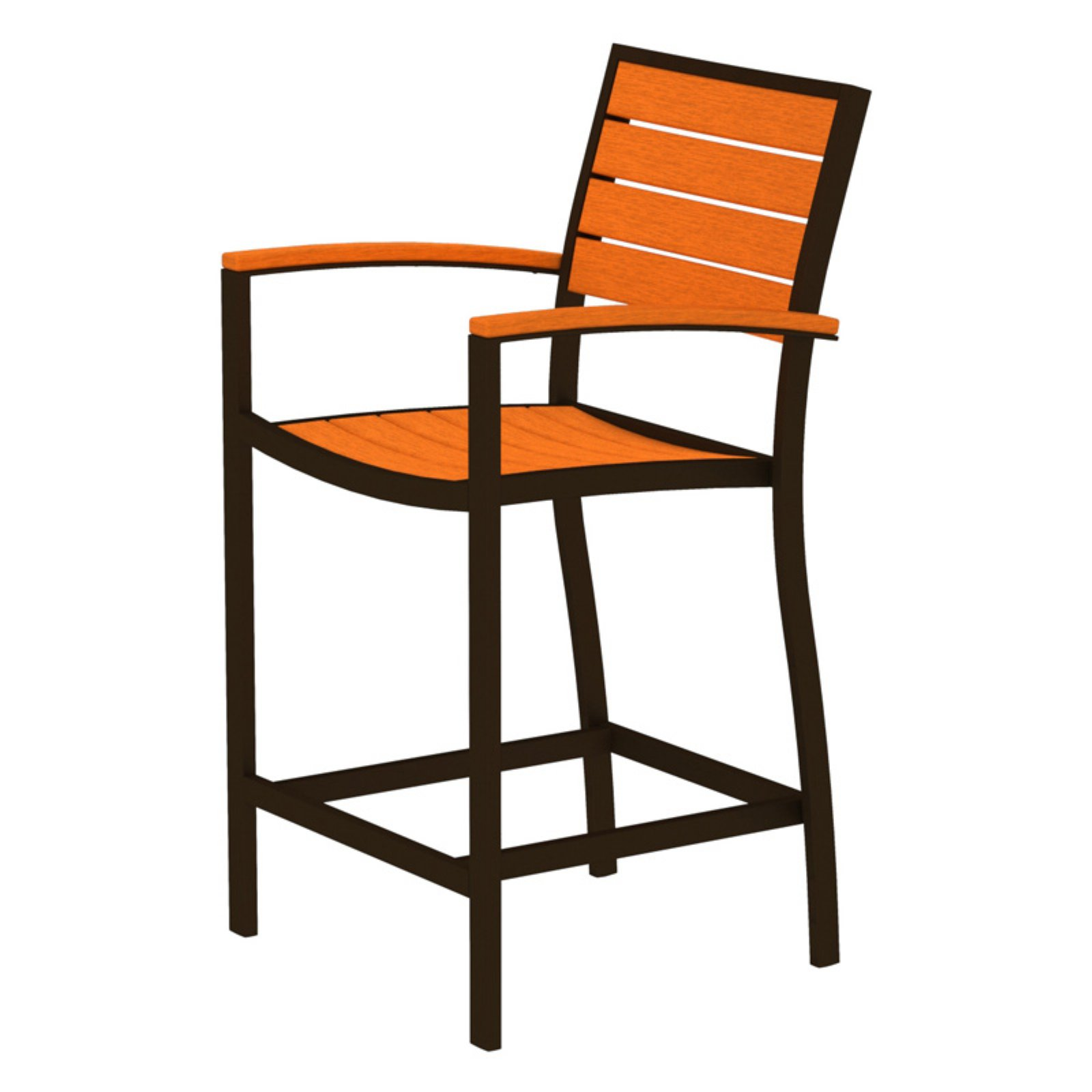 POLYWOOD® Euro Counter Arm Chair with Aluminum Frame
