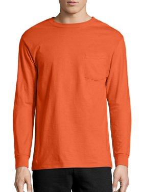 dc7899cc4 Product Image Hanes Men's Tagless Cotton Long Sleeve Pocket Tshirt