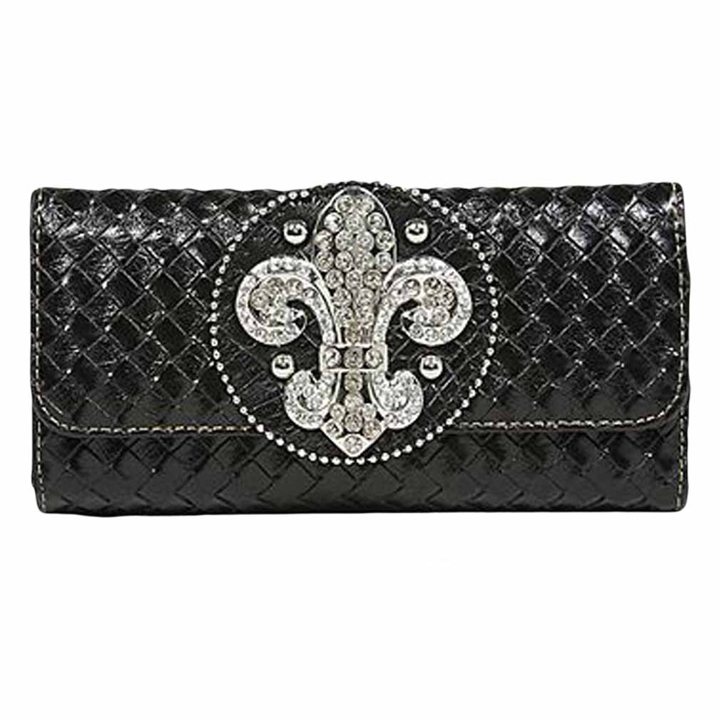 Luxury Divas Weaved Checkbook Wallet With Fleur De Lis