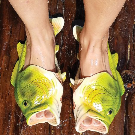 Funny Novelty Fish Feet Sandals w/ Fins, Gills & Large Mouth - EVA Soles (Flops Fish)