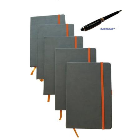ImpecGear Classic Notebook/ Writing Journal 5.5 x 8.25 Gray Orange FREE PEN (PACK OF 5, Gray/Orange)