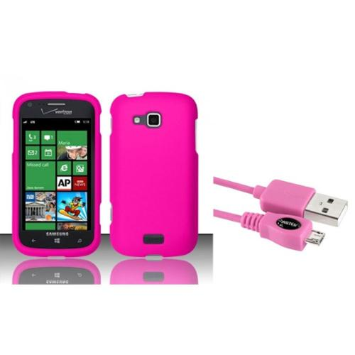 Insten Rose Pink Rubberized Hard Cover Case For Samsung ATIV Odyssey i930 (+ Free Micro USB Charging Cable)