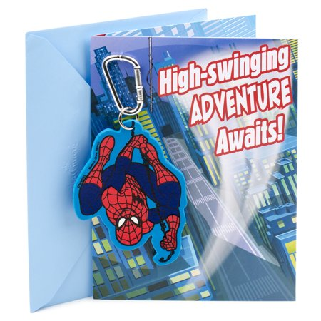 Hallmark Birthday Greeting Card for Boy (Spider-Man Backpack Clip)