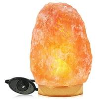 WBM Himalayan Glow Salt Lamp, Table lamp with Neem Wooden base 11-15lbs