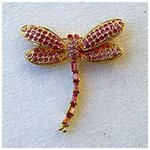 24K Gold-Plated Pink Swarovski Crystal Dragonfly Brooch   Pin (2 x 1 3 4) Gift Boxed by