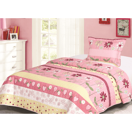 Golden Linens Twin Size Kids Bedspread Quilts Throw Blanket for Teens Girls Bed Printed Bedding Coverlet Floral Multi color Light Pink, Yellow, Hot Pink & Sage High Quality # Twin 16-02 ()