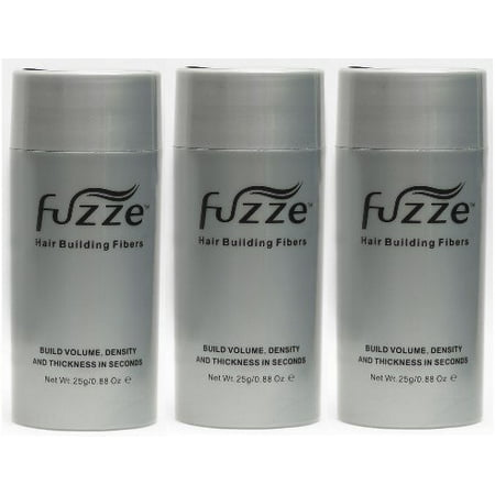 Black Hair Building Fibers for Thinning Hair 25g by FUZZE Hair Products (Pack of 3) - Hair Building Fibers