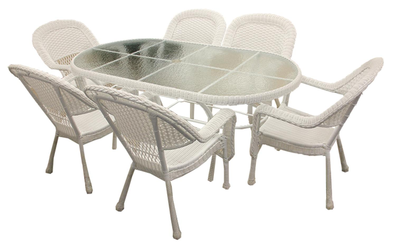 7-Piece White Resin Wicker Patio Dining Room Set 6 Chairs and 1 Dining Table by Northlight