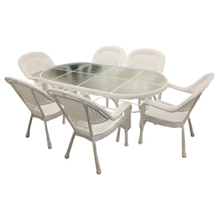 7 Piece White Resin Wicker Patio Dining Set 6 Chairs And 1 Table