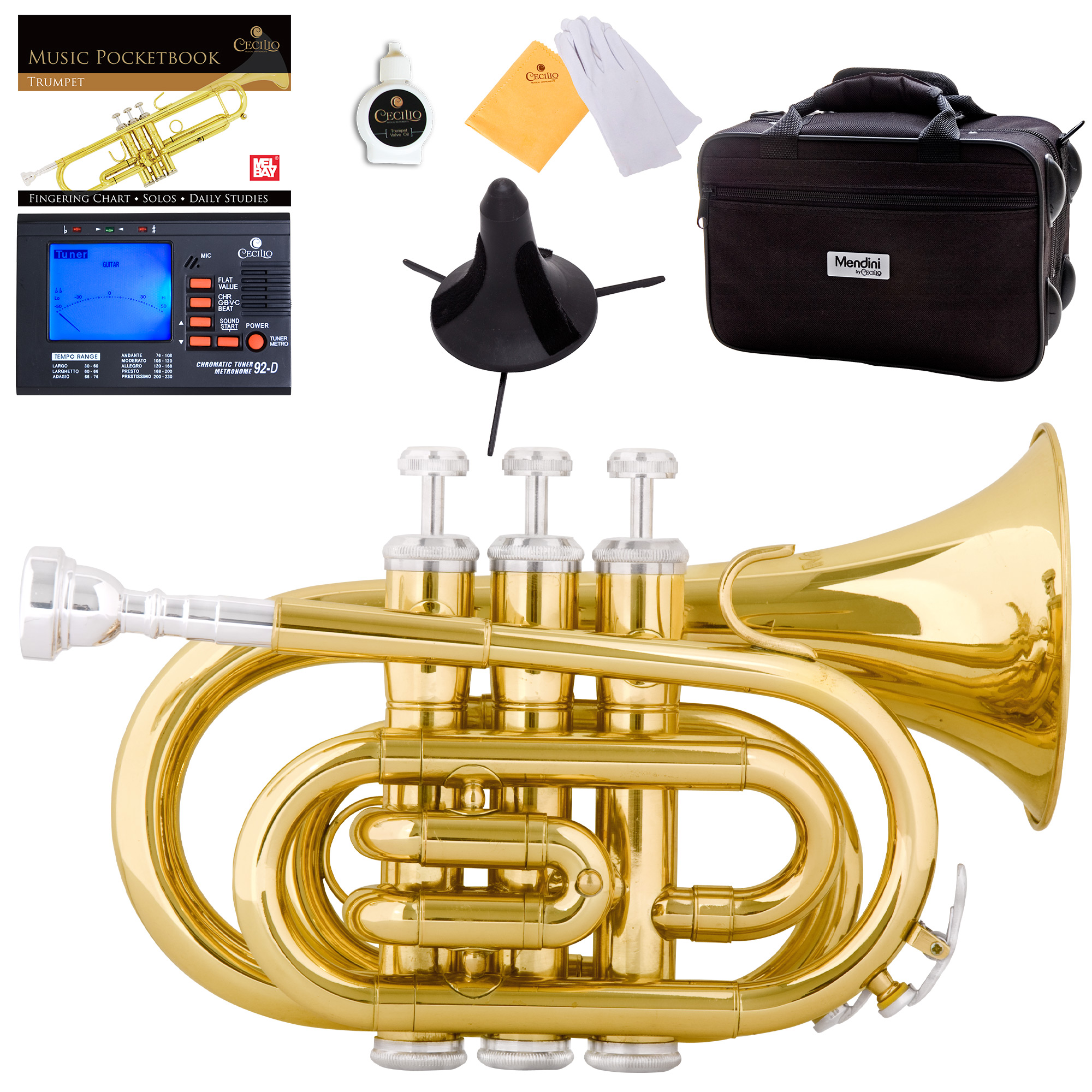 Mendini by Cecilio Gold Bb Pocket Trumpet w/1 Year Warranty, Tuner, Stand, Pocketbook and Deluxe Case, MPT-L