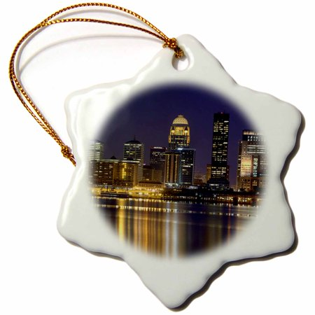3Drose Louisville Skyline With Kfc Yum Center  Kentucky   Us18 Aje0486   Adam Jones  Snowflake Ornament  Porcelain  3 Inch