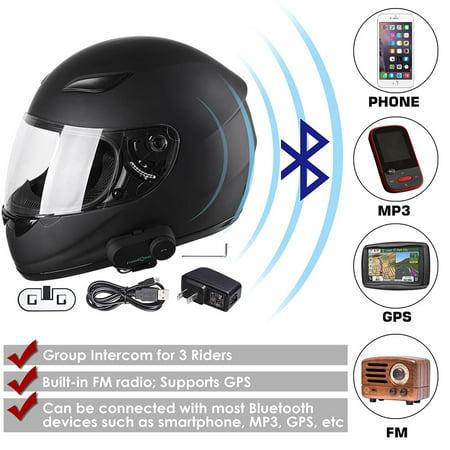 Wireless Motorcycle (AHR Bluetooth Motorcycle Helmet Full Face Modular Flip Up Helmet with Wireless Headset Intercom MP3 FM Radio)