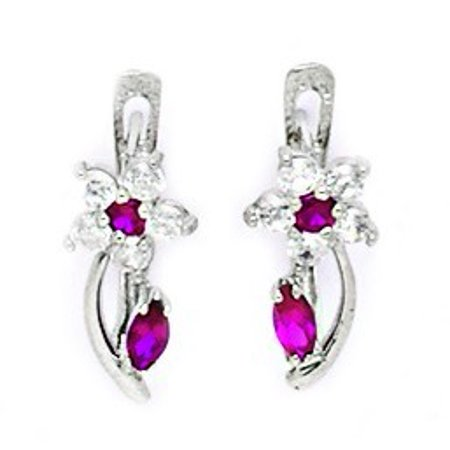 14k White Gold July Red CZ Large Flower and Leaf Leverback Earrings - Measures 16x6mm (White Gold Cz Leverback Earrings)