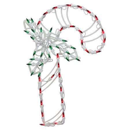 Northlight Lighted Candy Cane with Holly Window Silhouette Christmas Decoration - Set of (Green Candy Cane Coral)