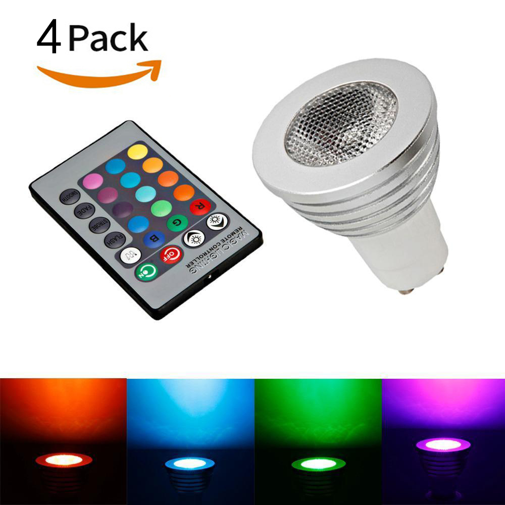 Ktaxon 4-Pack Durable GU10 5W Colorful RGB LED Bulb Light Lamp Spotlight with Remote Control,Great for Birthday Party / KTV Decoration / Home Use / Bar / Wedding