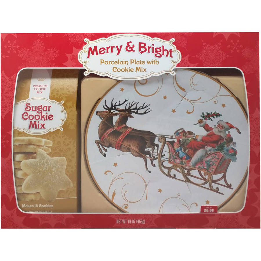 Merry & Bright Porcelain Plate with Cookie Mix, 16 oz