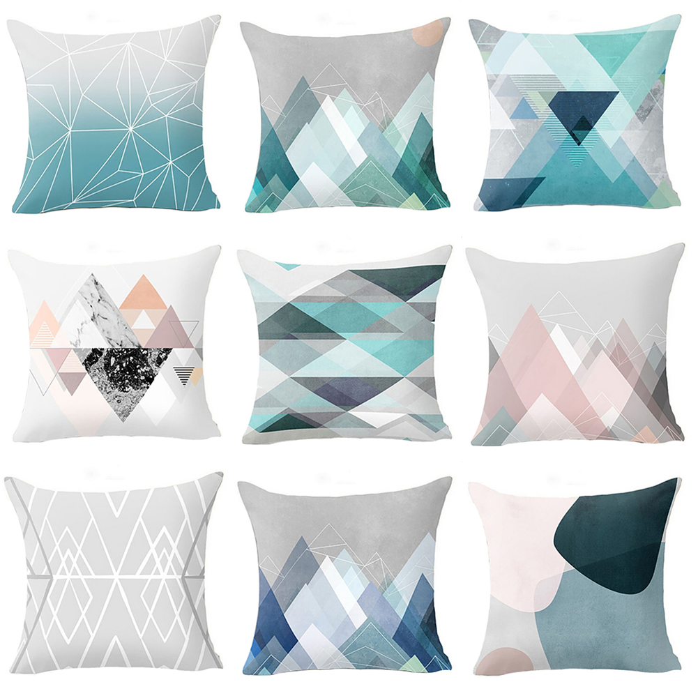 Girl12Queen Geometric Pattern Zippered Pillow Case Soft Waist Cushion Cover Sofa Home Decor