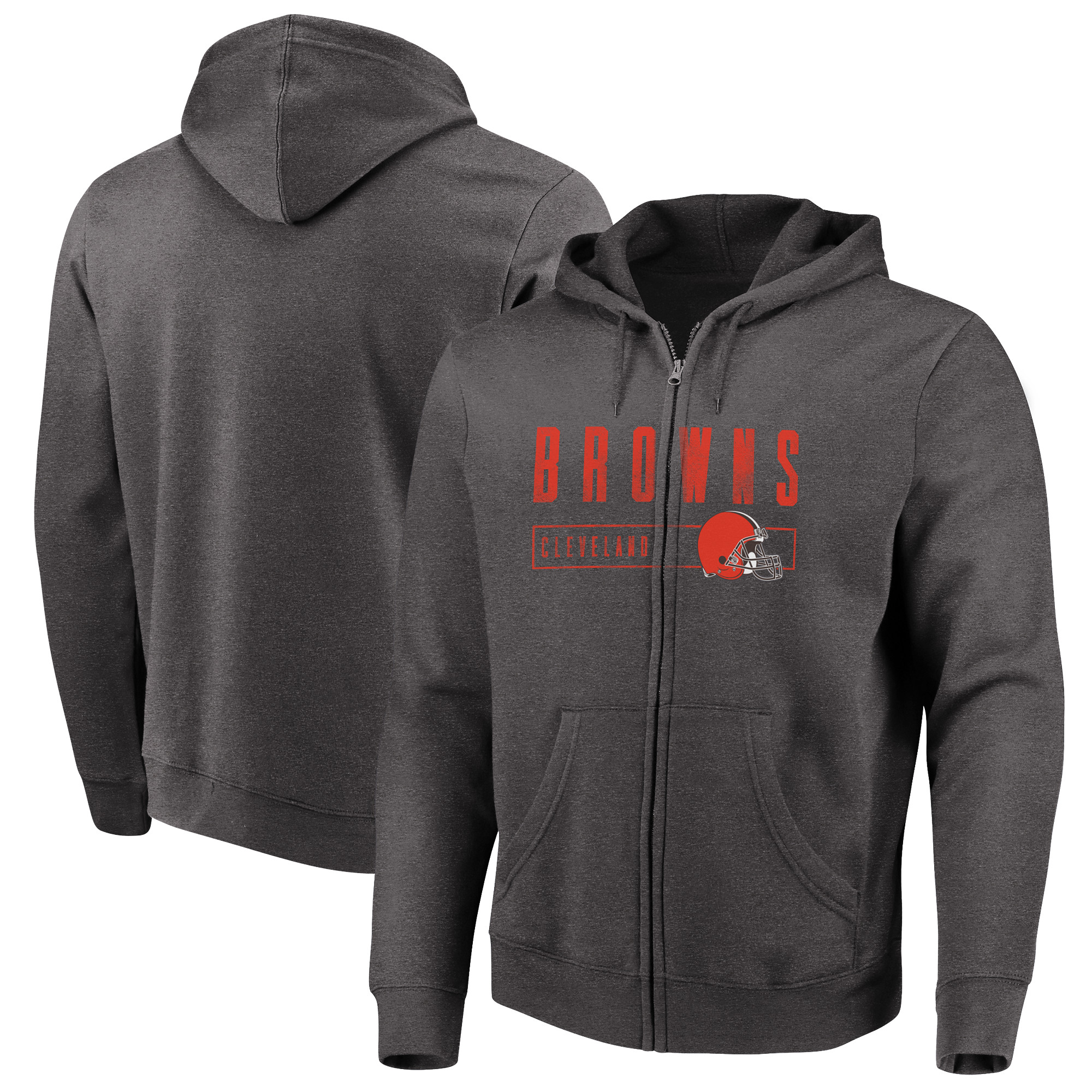 Cleveland Browns Majestic Hyper Stack Full-Zip Hoodie - Heathered Charcoal