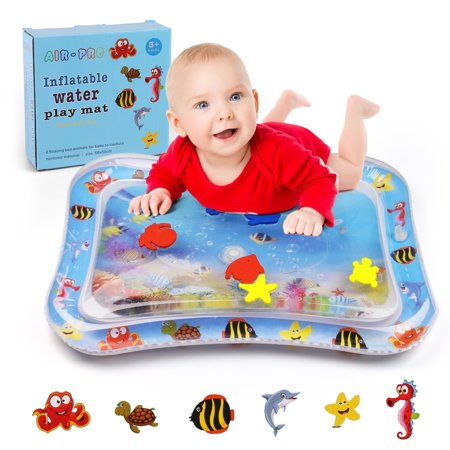 Tummy Time Water Play Mat for Babies Infants & Toddlers, Inflatable and Leak Proof, Perfect Fun time Play Activity Center for Your Baby's Stimulation Growth, 26x20 in ()