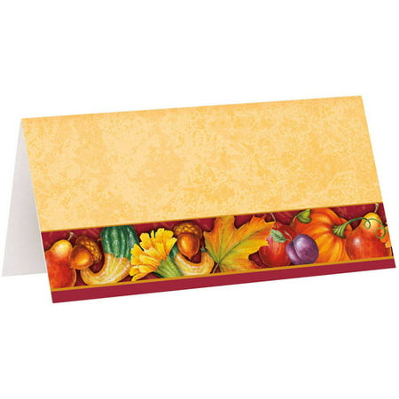 Festive Turkey Thanksgiving Place Cards, 16-Count (Cork Place Cards)
