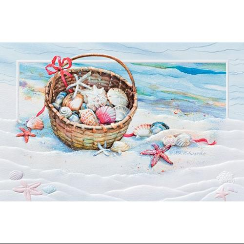 "Pack of 16 ""Basket of Shells"" Beach Fine Art Embossed Deluxe Christmas Greeting Cards"