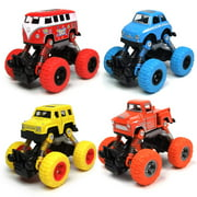WisToyz 4 Pack Pull Back Trucks Friction Powered alloy Cars for Kids, Toddler Toys Inertia Car Toys for 2 3 4 5+ Year Old Boys Girls