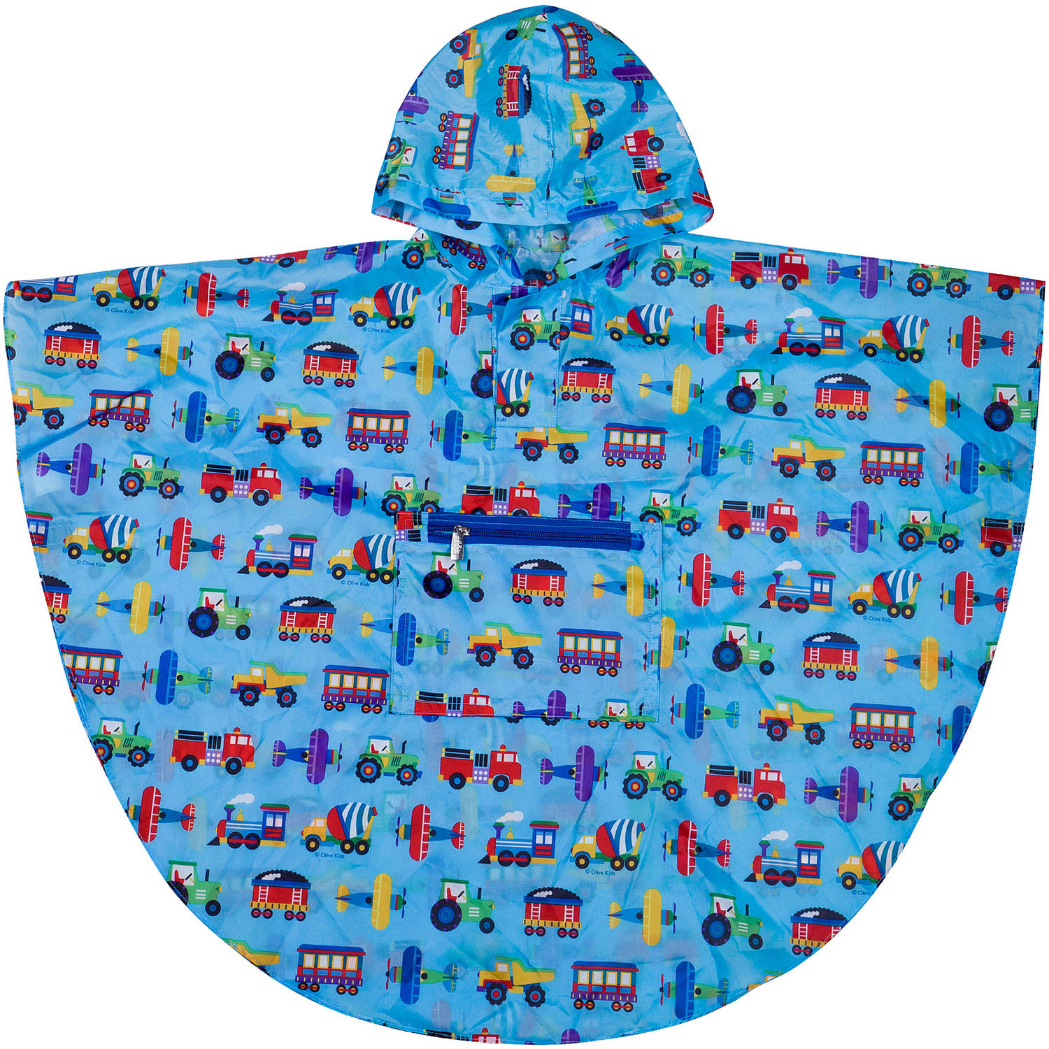 Click here to buy Olive Kids Trains, Planes and Trucks Poncho, 4-7 by Wildkin.