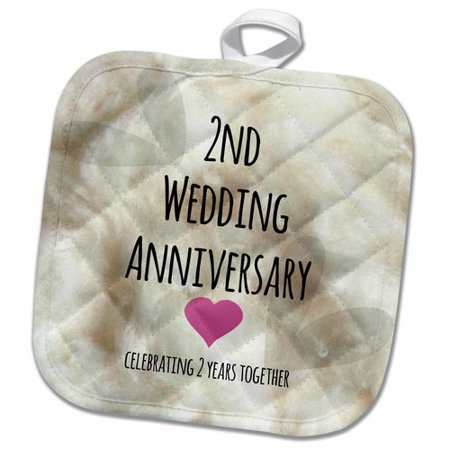 2 Year Wedding Anniversary Gift.3drose 2nd Wedding Anniversary Gift Cotton Celebrating 2 Years Together Second Anniversaries Two Yrs Pot Holder 8 By 8 Inch