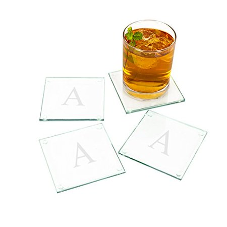 Personalized Glass Coasters (Set of 4), Size: Measures 4