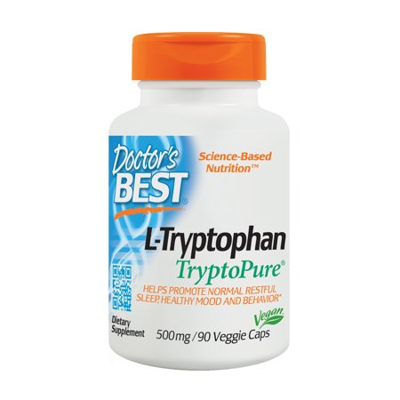 Doctor's Best L-Tryptophan from Tryptopure, Non-GMO, Vegan, Gluten Free, Soy Free, Helps Sleep, 90 Veggie (Best Otc For Sleep)