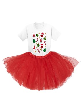 Awkward Styles Ugly Christmas Tutu Skirt Set Xmas Pattern Girls Ballet Outfit