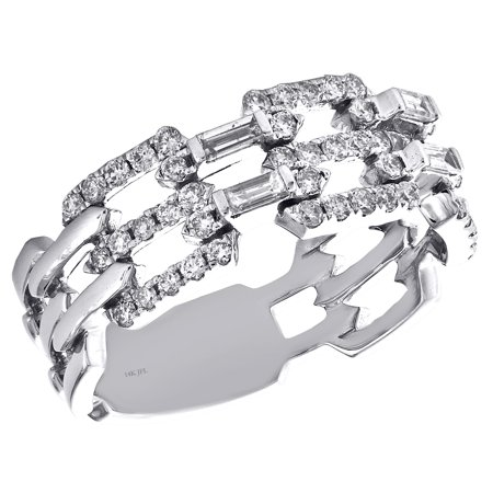 14K White Gold Baguette Diamond Open Chain Link Design Cocktail Ring 0.62 CT. Open Chain Link Ring