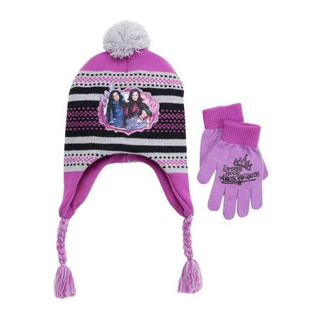 d1f367d14ca70f Disney - Disney Descendants Girls Purple Express Your Awesomeness Trapper  Hat & Gloves - Walmart.com