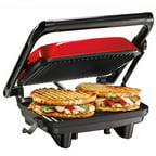 Hamilton Beach Panini Press Gourmet Sandwich Maker, Red, 25462Z