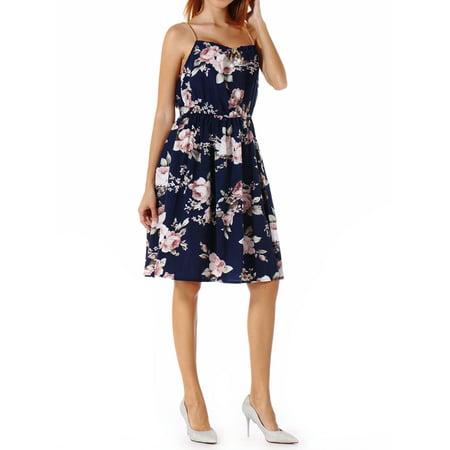 Juniors Spaghetti Strappy Mini Dress SleeveLess Tank Top Party Tube Dress Camisole Floral Printed Bodycon ()
